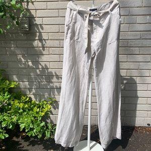 Tommy Hilfiger Straight Wide Leg Linen Pants